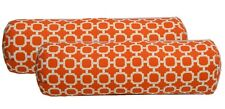 Set of 2 Outdoor Jumbo Chaise Lounge Bolster Pillows Orange White Hockley 24x8