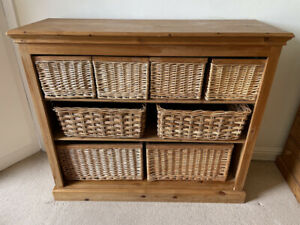 Large solid wood pine storage unit / sideboard with wicker baskets