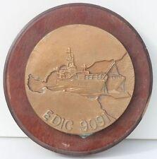 TAPE DE BOUCHE EN BRONZE - EDIC 9091 - ENGIN DE DEBARQUEMENT DE CHARS - D. 12 cm