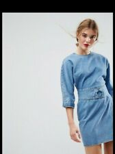 Denim Dress With Belt And Ring Detail In Midwash Blue Size 8 RRP £35