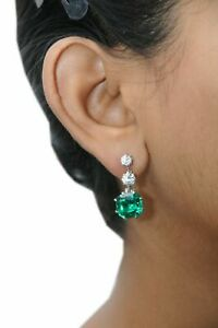 925 Sterling Silver Dangle Earring Green Cushion Beautiful Stone CZ
