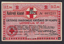 Lithuania Lottery ticket 1930 Nr.17, Klase 2, Series: 003213  Red Cross