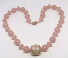 """20"""" Pink Translucent 12mm Lucite Bead Necklace~24mm Flower Painted Barrel Bead"""
