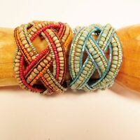Set of 2 Antique Multi Color Handmade Beaded Braided Jane Wide Cuff Bracelet