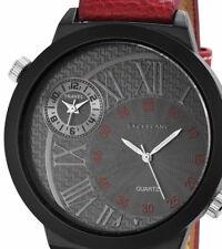 Armbanduhr 2 Zeitzonen Lederband Uhr Braun Schwarz Männeruhr Herrenuhr Watch