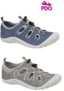 Ladies PDQ Walking Trail Sports Enclosed Sandals Pumps Grey Blue Size 3-9 uk