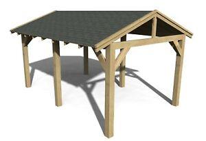 Wooden Gazebo 4.8m x 3m Hot Tub Shelter, Outdoor Timber Car Port Gazebo Pergola