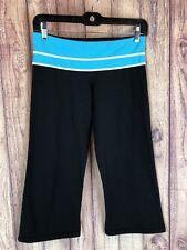 LULULEMON GROOVE Womens Size 6 Black & Turquoise Capri Yoga Crop Pants 7b9