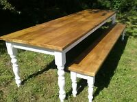 rustic plank pine farmhouse table 8 foot by 3 foot 10 seater and 7 foot bench
