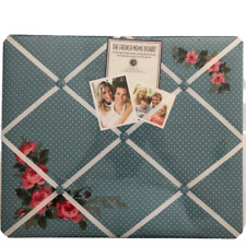 "The French Memo Board, 19"" x 16"", New With Tags, Polka Dots, Roses, Blue, Pretty"