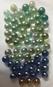 Vintage 1980s Mixed Colour Lustered Marbles x 60 Plus