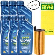 MANN ÖLFILTER HU6004x + 6 LITER ARAL SUPER TRONIC LONGLIFE III 3 MOTOR ÖL 5W-30