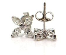 1.01 CT Natural marquise cut diamond stud earrings VS/F 14K white gold