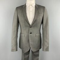 BURBERRY PRORSUM 40 Grey Herringbone Wool 32 x 32 Notch Lapel  Suit