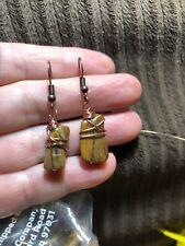 Wire wrapped earrings Handmade ARTISAN Petrified Wood In Copper JMe ⭐️🇺🇸