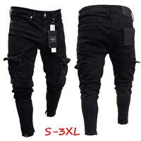 Mens Slim Fit Urban Straight Leg Trousers Casual Pencil Jogger Cargo Pants US