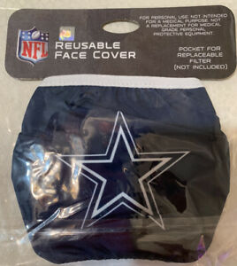DALLAS COWBOYS NFL OFFICIALLY LICENSED REUSABLE FACE COVER MASK NEW IN PACKAGE