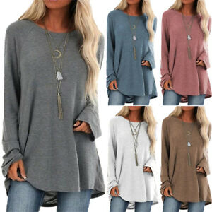 Womens Long Sleeve Loose Tunic Tops Shirt Baggy Jumper Pullover Blouse Oversize