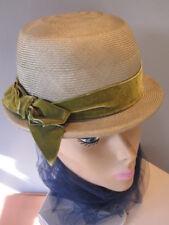 Vintage Rosamonde Green Easter Pillbox Cloche Hat 50s