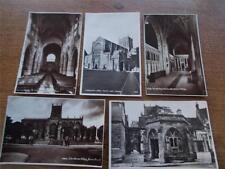 5 Vintage Postcards Real BW photos SHERBORNE & ABBEY DORSET Interior Exterior