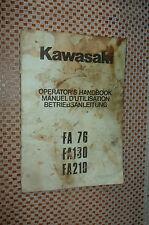 KAWASAKI FA 76 130 210 ENGINES OPERATOR'S HANDBOOK OWNERS MANUAL ORIGINAL