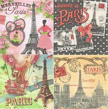 Lot de 4 serviettes en papier Paris Paper Napkins Vintage Capitale Ville Orval