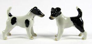 Miniature Porcelain Hand Painted Fox Terrier Dog figurines Set/2 (Mini)