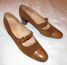 40's SAKS FIFTH AVENUE brown suede and leather cap toe mary jane shoes 7.5 A  **
