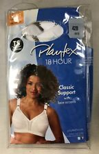 Playtex Bra 42B 18 Hour Classic Support WireFree 20-27 White Lace Accents NIP