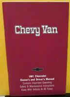 1981 Chevrolet Truck Owners Manual Original Chevy Van SportVan Care & Op