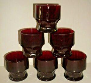 "6 Anchor Hocking 3"" Royal Ruby Red Georgian Tumblers Juice Glasses Honeycomb 5oz"
