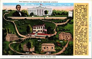 Vtg 1930s Early Pilgimage of Abraham Lincoln Log Cabin to White House Postcard