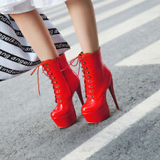 Lady High Stiletto Ankle Lace Up Platfom Casual Women Nightclub Sexy Boots Red