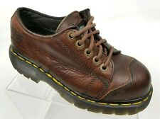 Dr Martens Industrial Womens Work Boots Low Brown Leather Steel Toe EH Sz 6 US