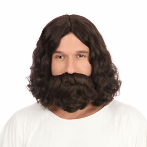 Jesus Wig And Beard Religious Figure Adults Fancy Dress Accessory Mens