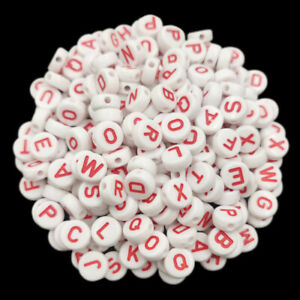 20Pcs 10mm White Colorful Letter Loose Beads DIY For Jewelry Making Candy Color
