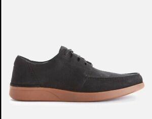 Clarks Men's Oakland Walk Nubuck Shoes Black Combi Flex Rubber Sole Size 8