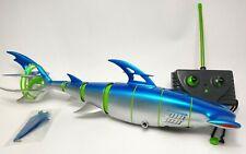 Rare SwimWays R/C Radio Control Cyborg Hammerhead Shark - Blue Whit Green Lines
