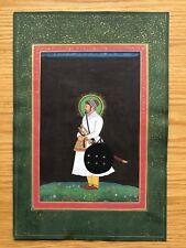 Original Indian Miniature Painting Fine Portrait de Moghol Noble