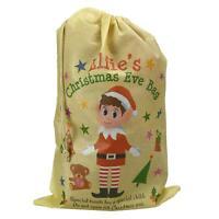 Kids Boys Girls Christmas Eve Santa Gift Bag Xmas Elf Drawstring Present Sack