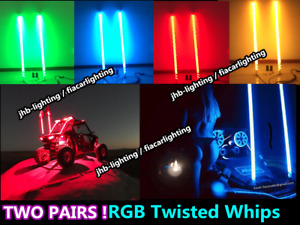 TWO Pairs 3FT RGB Color Change Spiral Wrapped Twisted Brightest LED Whips Lights