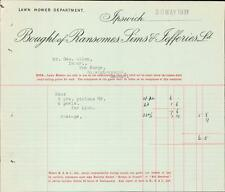 Ransomes, Sims & Jefferies Ltd. Lawn Mower parts receipts 1931 Ipswich    zn.11