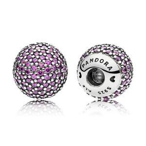 Pandora 796481CFP Bangle Caps S/Silver Purple CZ Pave suits Open bangle RRP $129