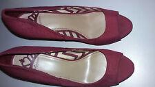 "Fergalicious by Fergi Womens 5"" Peep Toe Platform Heels Spike Burgandy Size 10M"