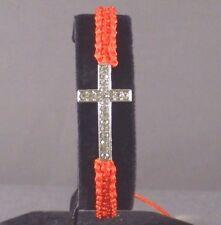 Christian Bracelet Macrame Braid Silver Tone Cross Rhinestone RED Last One!