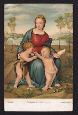 c1911 Madonna del Cardellino religion art by Raffaello Santi, Stengel postcard