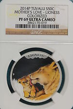 2014 NGC Proof 69 U CAM Mother's Love Colorized Lioness 50C 1/2 oz Silver!#B1783