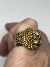 Vintage Buckle Band Ring Golden 925 Sterling Silver Size 5