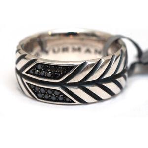 New DAVID YURMAN 10mm Modern Chevron Band Ring in Silver Black Diamond Size 10