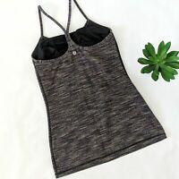 LULULEMON Power Y Tank Top Heathered Brown Grey Size 6 Yoga Activewear Shirt